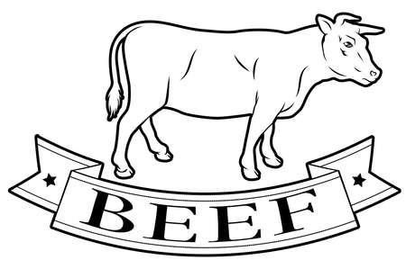 Beef meat food label of a cow and banner reading beef