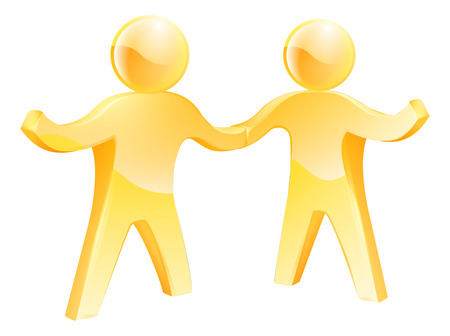 team working together: Two gold men doing a business handshake. Concept for partnership, cooperation or similar