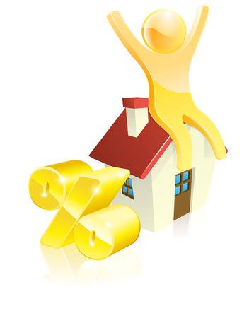 Mascot house percent concept of man sitting on house with arms up and gold percentage sign. Could be concept for many financial topics relating to mortgages or real estate Vector