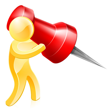 A person holding a huge thumb tack or map pin about to pin something Vector