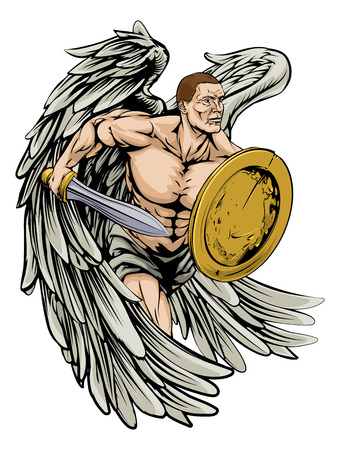 An illustration of a warrior angel character or sports mascot holding a sword and shield Vector