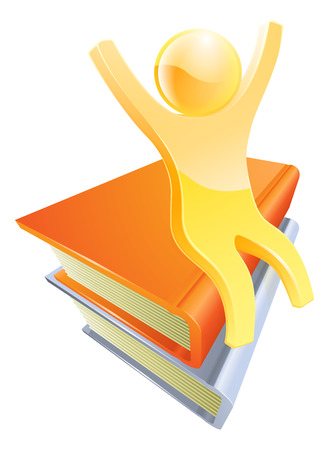 Person on books education concept of a cute gold mascot seated on books with arms up Vector