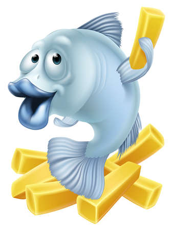 Cartoon fish and chips illustration of a fish character and chunky chips or French fries Vector
