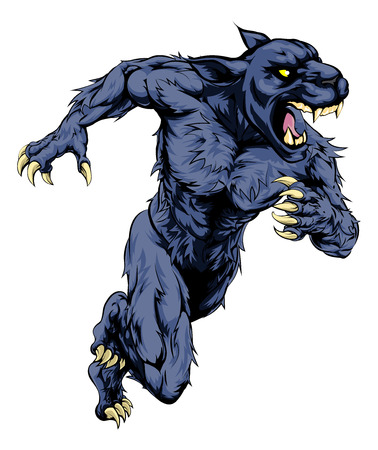 black panthers: A panther man character or sports mascot charging, sprinting or running