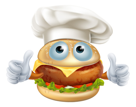 A fun cartoon chef hamburger character wearing a chef hat and doing a thumbs up