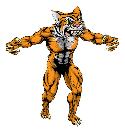 An illustration of a Tiger scary sports mascot with claws out