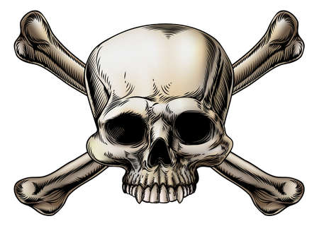 Skull and crossbones drawing with skull in the center of the crossed bones Illustration