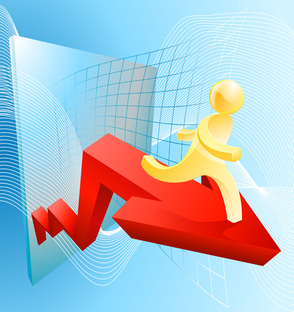 business success concept: Business success concept of a character moving up on a giant red arrow with graph or chart grid in the background