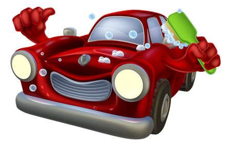 carwash: Personaje de dibujos animados con jabón de lavado de coches con un pulgar hacia arriba y frotándose con un cepillo Vectores