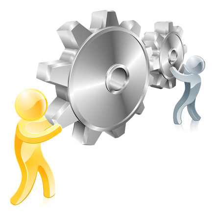 Two mascot figures working a pair of cogs or machine gears, could be concept for changing settings Vector