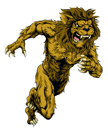 A lion man character or sports mascot charging, sprinting or running Illustration