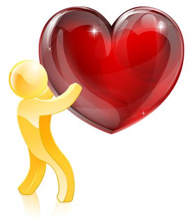 Heart love gold man concept of a mascot man holding a giant heart Vector