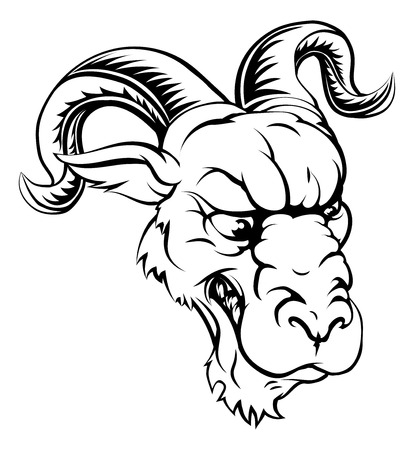 A black and white ferocious mean looking ram animal character mascot head Illustration