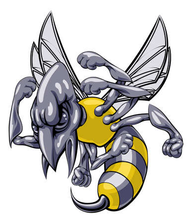 sting: A mean looking hornet wasp or bee mascot character cartoon illustration Illustration