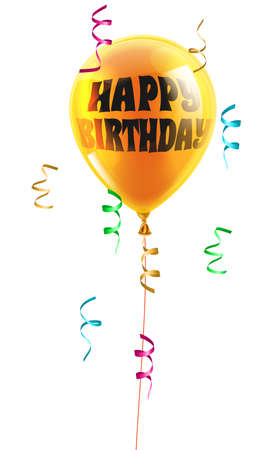 A shiny orange balloon with the words Happy Birthday written on it Vector