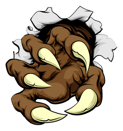 A monster claw breaking through the wall or metal or paper background Vector