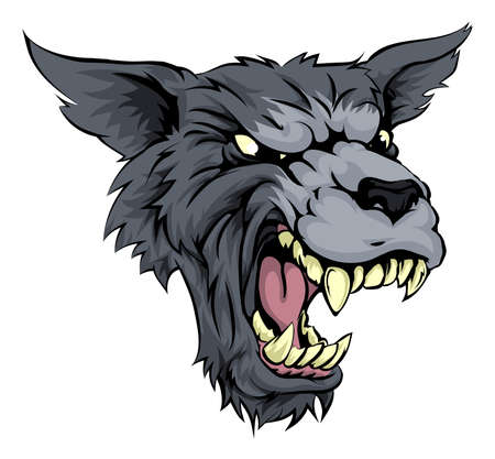 perro furioso: Ilustración de un medio que mira rugido hombre lobo o lobo carácter y gruñendo en blanco y negro Vectores