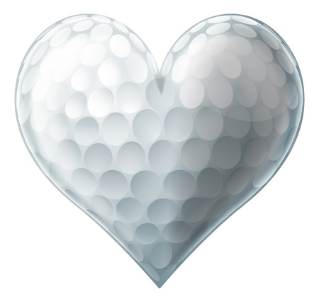 golf ball on tee: A golf ball heart, conceptual illustration for a love of golf