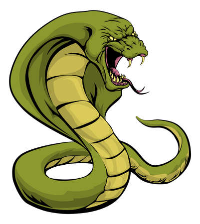 An illustration of a cobra snake sports mascot about to strike Vector