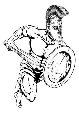 An illustration of a gladiator warrior character or sports mascot  in a trojan or Spartan style helmet holding a sword and shield  Vector