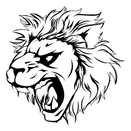 A powerful lion animal mascot head in black and white roaring