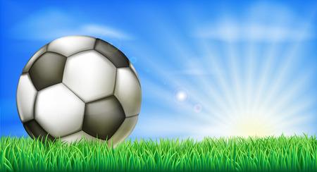 speelveld gras: Een voetbal in een groen grasveld toonhoogte met zon opkomst.