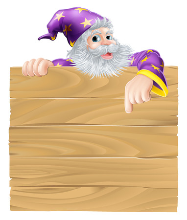 Cartoon sign and wizard illustration of an older wizard man peeping over a sign and pointing down Vector