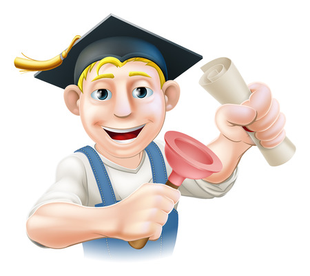 A plumber or janitor with mortar board graduate cap with diploma certificate or other qualification.  Vector