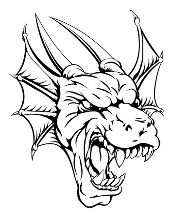 An illustration of a mean looking dragon mascot roaring  Illustration