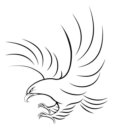 swooping: Stylised eagle illustration of an eagle swooping in for the kill