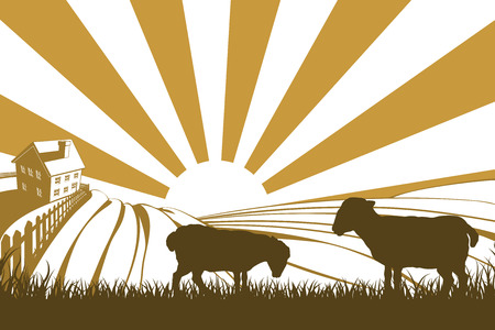 An illustration of a silhouette lamb or sheep in a field on a farm with sunrise and farmhouse in the background Vector