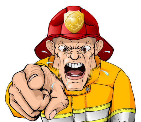 An illustration of an angry shouting fire man pointing at the viewer