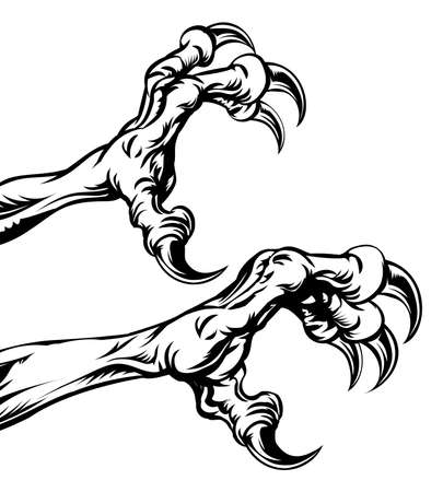 etched: An illustration of eagle or monster animal claws or talons