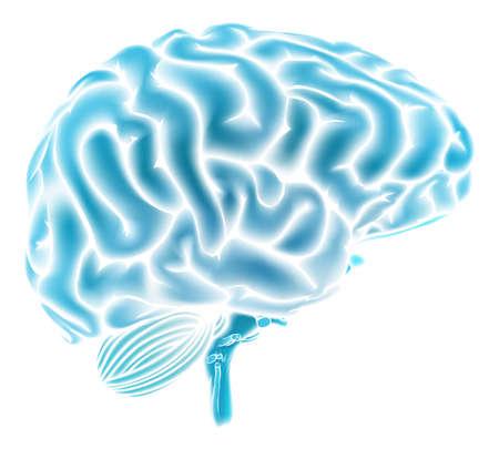 health: Een conceptuele illustratie van een gloeiende blauwe menselijk brein. Kan een concept voor een brainstorm of intelligentie