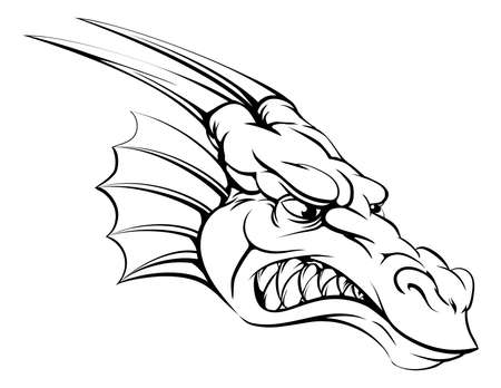 A drawing of a mean tough dragon mascot head Vector