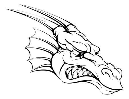 dragon head: A drawing of a mean tough dragon mascot head