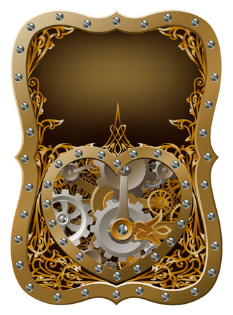 mariage: Machine clockwork heart concept with a heart shape made of cogs and gears with art nouveau background