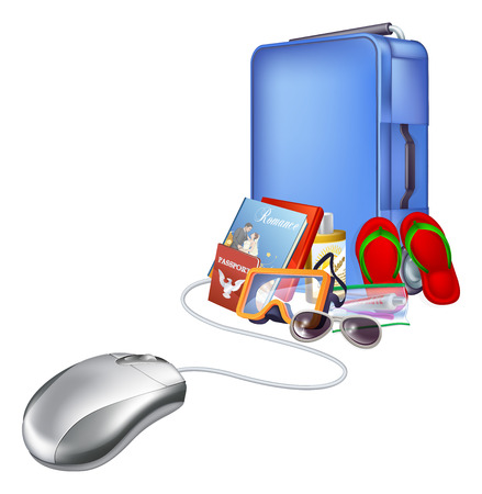 lugage: Holiday vacation online internet shopping illustration, of a computer mouse connected to lots of tropical holiday items