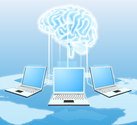 tecnology: Cloud brain computer concept of computers all over the world connected to a central cloud or brain