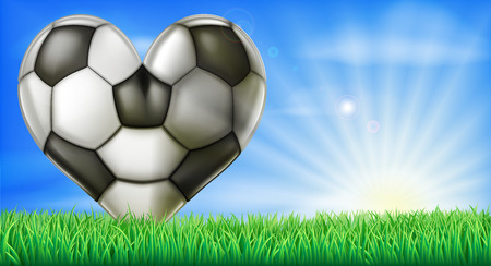 bal: A heart shaped soccer football in a green grass field pitch. Conceptual illustration for a love of soccer