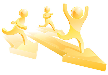 Gold people running a race on arrows, concept for business competition Vector