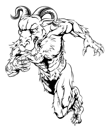 bighorn: Black and white illustration of a sprinting running ram character, great as a sports or athletics mascot Illustration