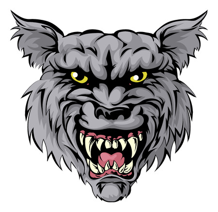 ferocious: An illustration of a fierce wolf animal character or sports mascot