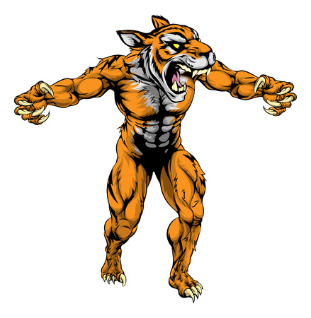 An illustration of a Tiger scary sports mascot with claws out Vector