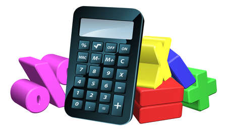 An illustration of a calculator and 3d math symbols Vector