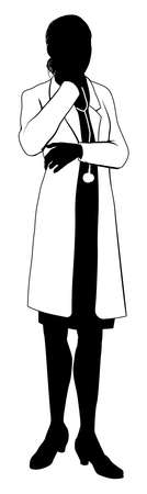 doc: A female doctor with white coat and stethoscope in silhouette with hand on chin in thought