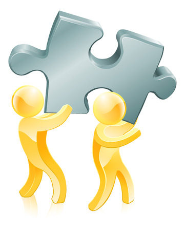 organise: Jigsaw piece gold people illustration of two gold people mascots holding a giant jigsaw piece