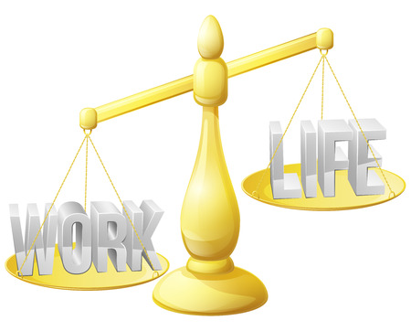 too much: Work life balance concept, work and life on scales with too much work