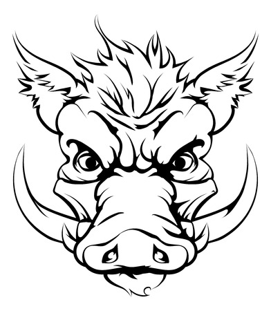 boar: A mean looking boar animal character or sports mascot