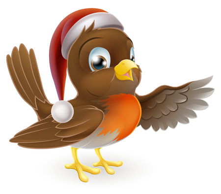 An illustration of a Christmas Robin bird in a Santa hat pointing with his wing Vector